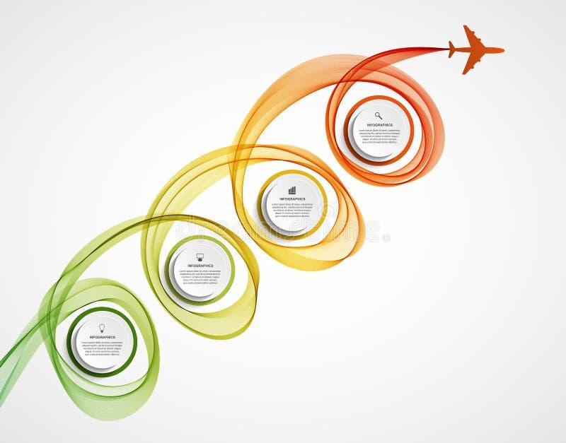Het abstracte infographic vliegtuig en golft een gekleurde rook stock illustratie
