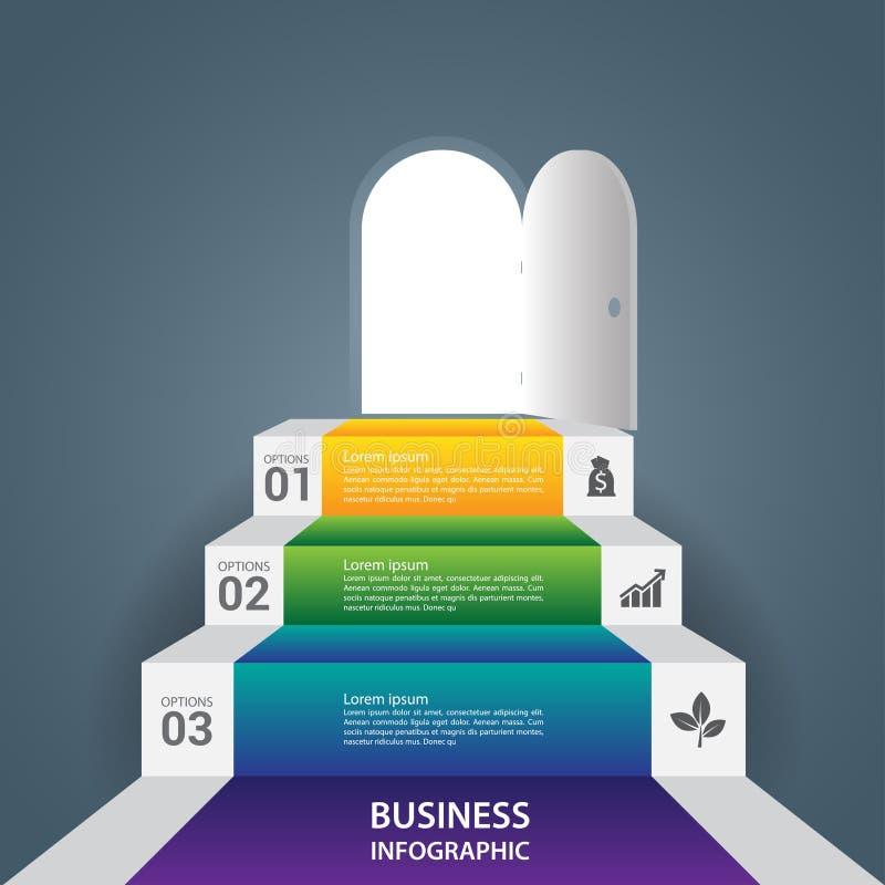 Het abstracte Infographics-succes van de bedrijfstredestap stock illustratie