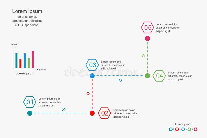 Het abstracte infographicsmalplaatje, 5 stappen brengt diagram, bedrijfsconcepten infographic, vectorillustratie in kaart vector illustratie