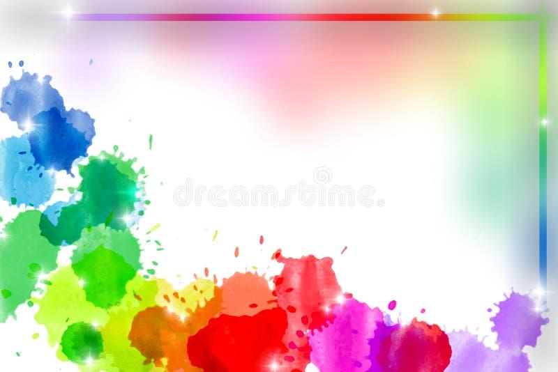 Het abstracte kader van de regenboogwaterverf royalty-vrije illustratie