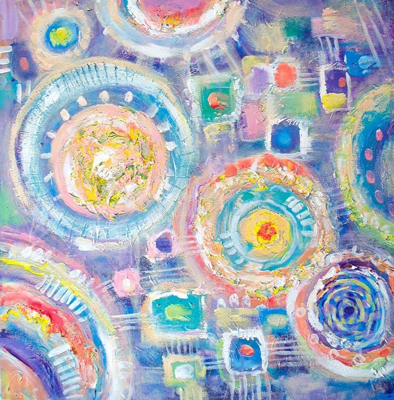 Het abstracte kleurrijke acryl schilderen canvas Kan als prentbriefkaar worden gebruikt De textuureenheden van de borstelslag Art vector illustratie