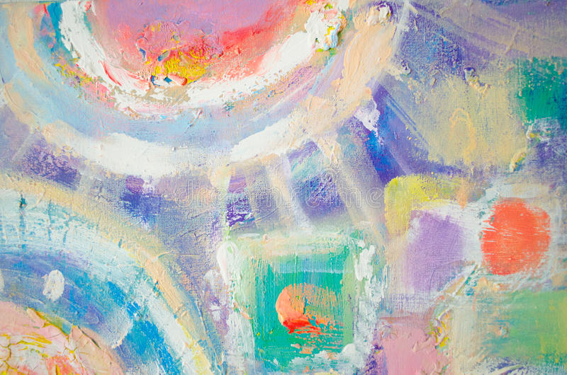 Het abstracte kleurrijke acryl schilderen canvas Kan als prentbriefkaar worden gebruikt De textuureenheden van de borstelslag Art royalty-vrije illustratie