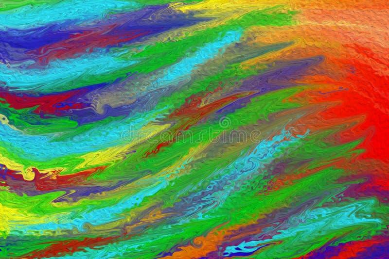 Het abstracte Kleurrijke Acryl Schilderen van Golven royalty-vrije stock fotografie
