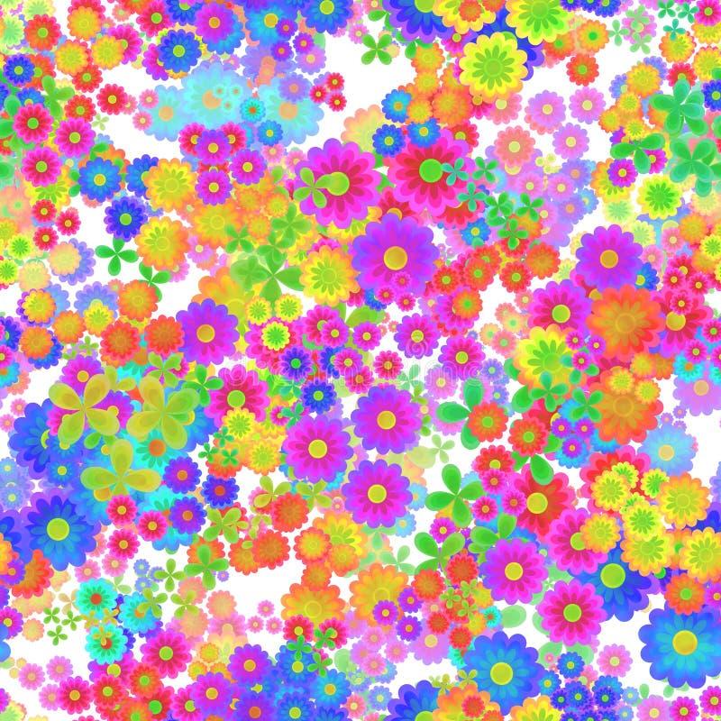 Het abstracte kleurrijke bloemenpatroon, Veelkleurige bloemen, bloeit in regenboogkleuren, Textuurachtergrond, Naadloze illustrat stock illustratie