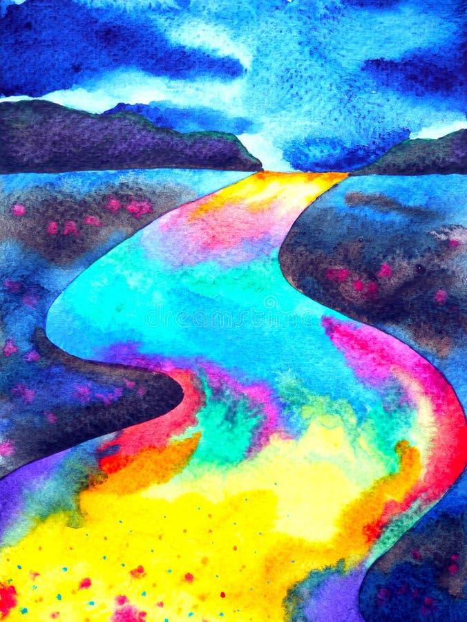Het abstracte kleurrijke de waterverf van de de fantasiestraat van de manierweg schilderen royalty-vrije illustratie