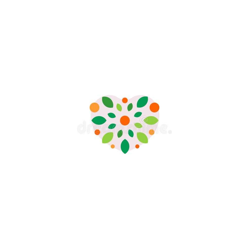 het abstracte kleurrijke embleem van de hartvorm Bloemenelement logotype vector illustratie