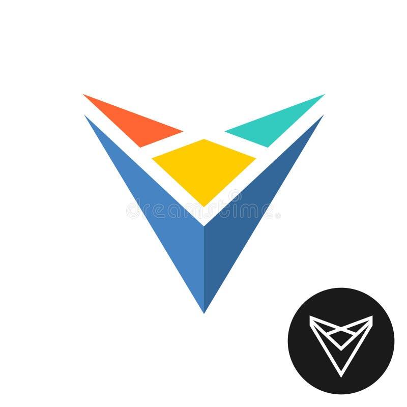 Het abstracte kleurrijke embleem van driehoekstechnologie stock illustratie
