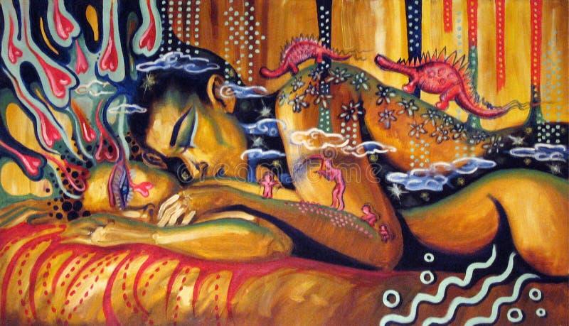 Het abstracte kleurrijke schilderen van liefdepaar stock illustratie