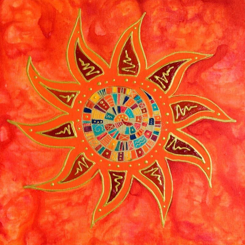 Het abstracte kleurrijke zon schilderen royalty-vrije illustratie