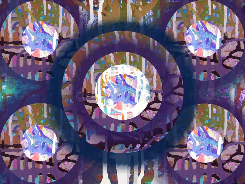 Het abstracte kunst acrylkleur schilderen op canvas van kleurrijke backgr royalty-vrije illustratie