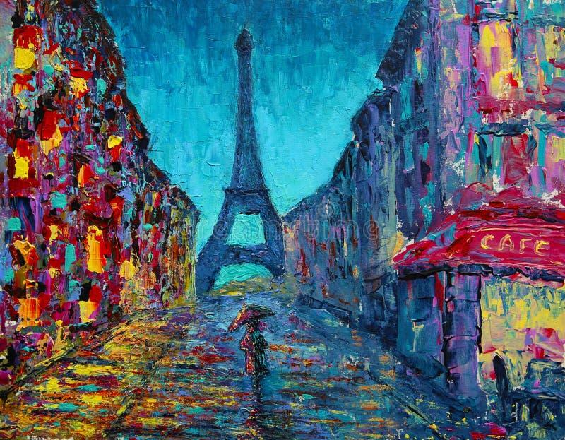 Het abstracte kunst schilderen met de straat van Parijs stock illustratie