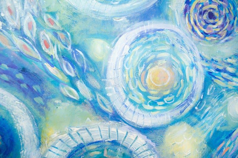 Het abstracte kunst schilderen Onderwater wereld Abstracte blauwe hand geschilderde achtergrond stock illustratie