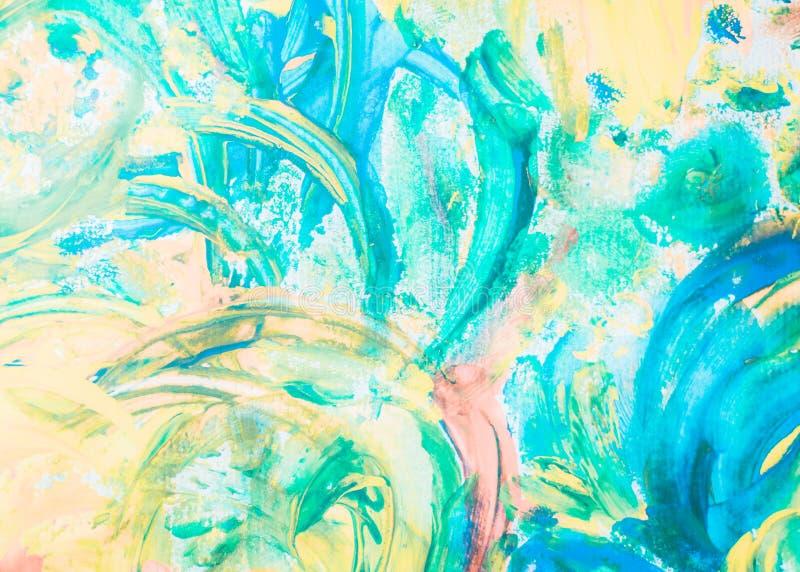 Het abstracte kunsthand getrokken acryl schilderen als achtergrond acrylverf van de penseelstreken de kleurrijke textuur op canva vector illustratie