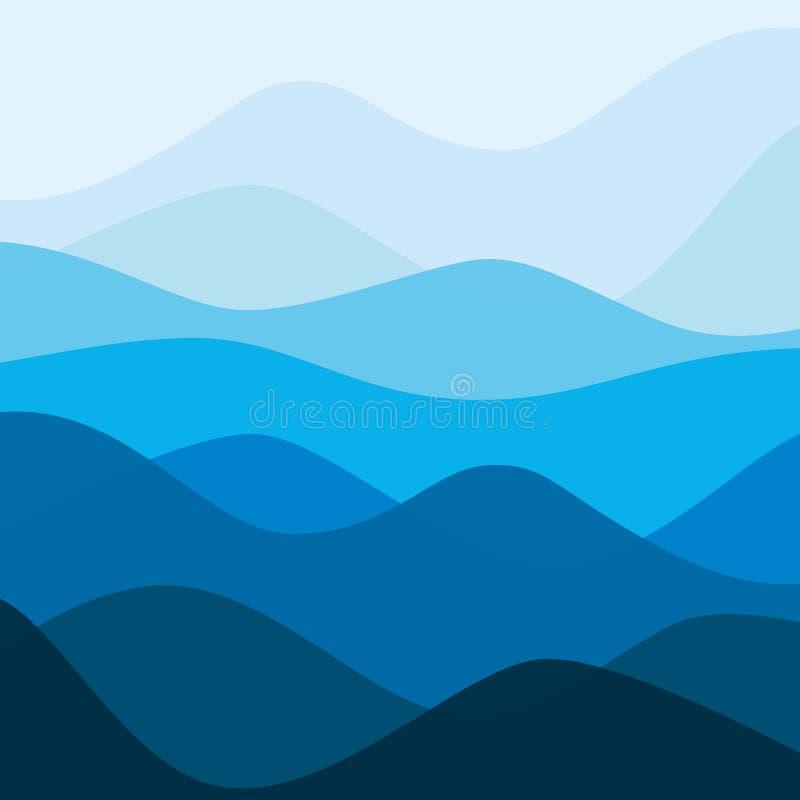 Het abstracte landschap van de wateraard Decoratieve vierkante achtergrond stock illustratie