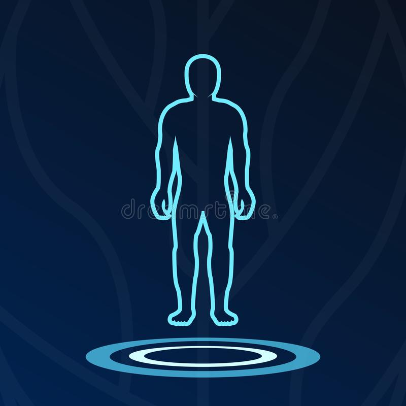 Het abstracte lichaamshologram steekt logotype aan royalty-vrije illustratie