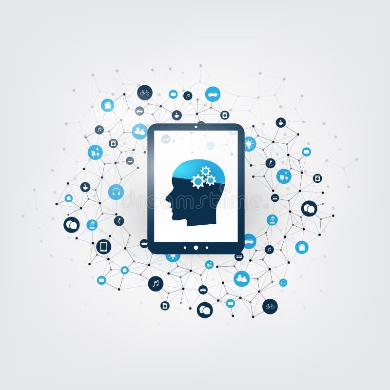 Het het abstracte Machine Leren, Kunstmatige intelligentie, Wolk Gegevensverwerking en Concept van het Netwerkenontwerp met Digit royalty-vrije illustratie