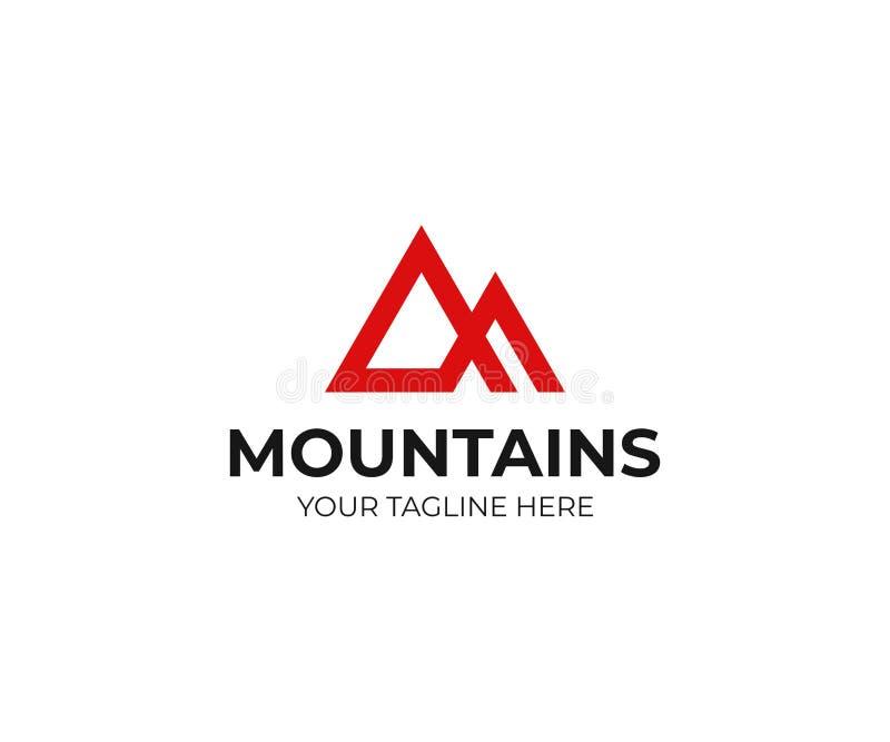 Het abstracte malplaatje van het bergenembleem Het piek vectorontwerp van de driehoeksberg stock illustratie