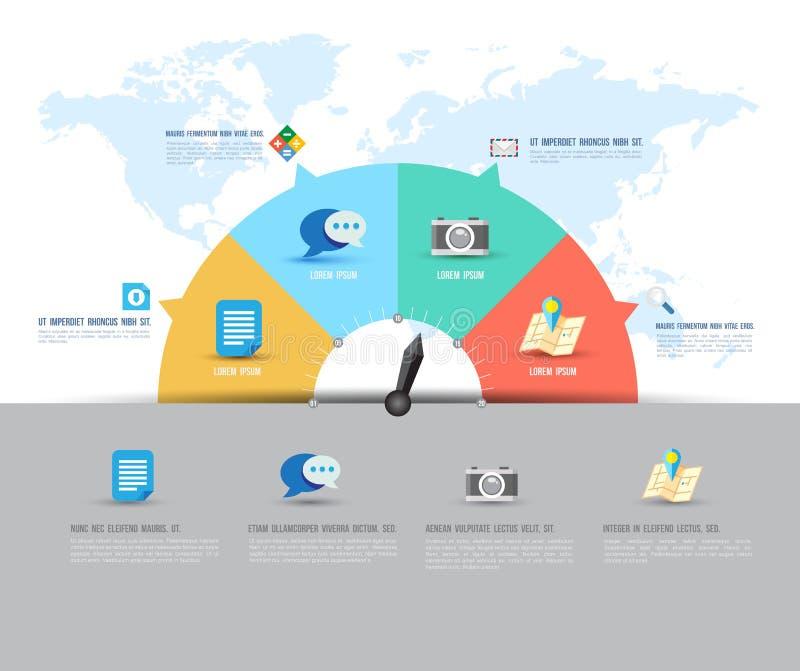 Het abstracte malplaatje van de bedrijfsinformatiegrafiek met pictogrammen Vector illustratie stock illustratie