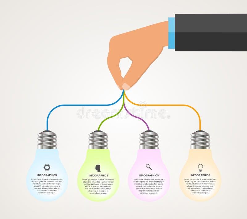 Het abstracte malplaatje van het infographicsontwerp met menselijke handen die de gloeilampenbanner houden stock illustratie