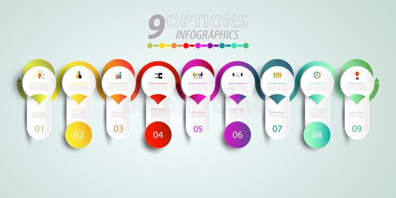 Het abstracte malplaatje van het infographicsaantal met 3D en optie of stap vector illustratie