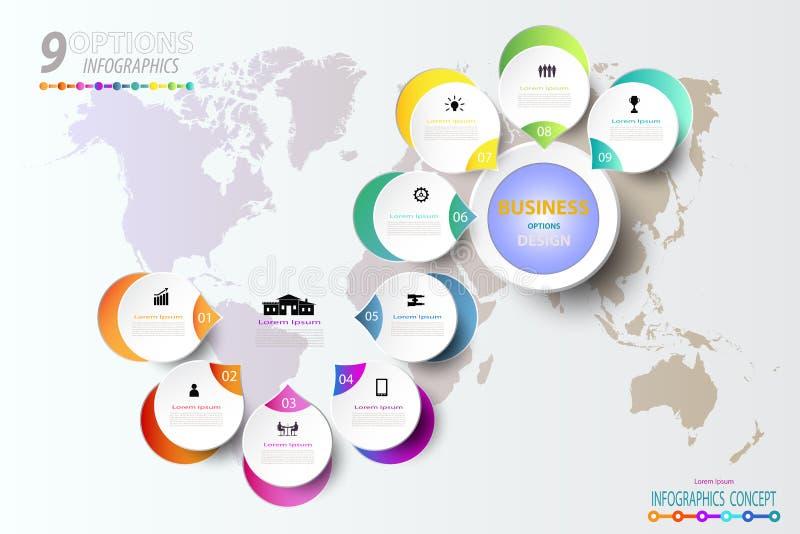 Het abstracte malplaatje van het infographicsaantal met pictogram en optie 9 vector illustratie