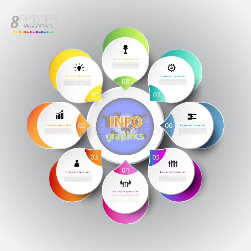 Het abstracte malplaatje van het infographicsaantal met pictogram en optie 8 vector illustratie