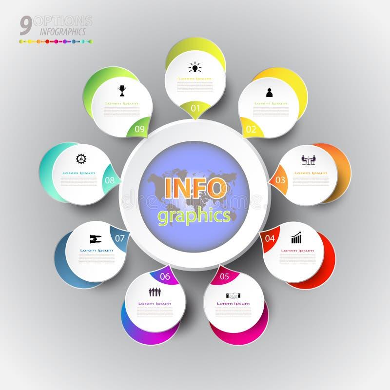 Het abstracte malplaatje van het infographicsaantal met pictogram en optie 9 stock illustratie