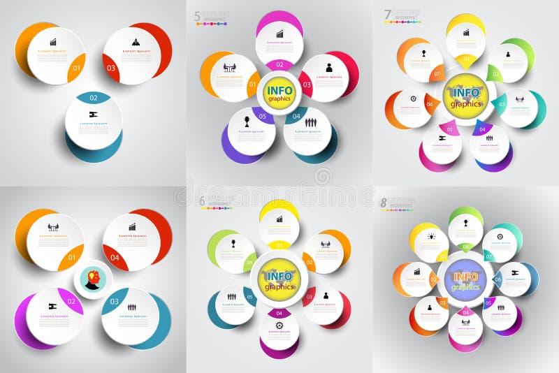 Het abstracte malplaatje van het infographicsaantal met reeks en optie of ste stock illustratie