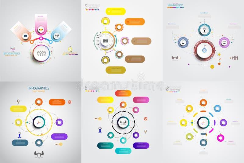 Het abstracte malplaatje van het infographicsaantal met reeks en optie of ste royalty-vrije illustratie