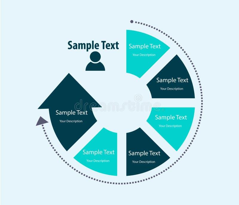 Het abstracte malplaatje van het infographicsontwerp, Processtroom royalty-vrije illustratie