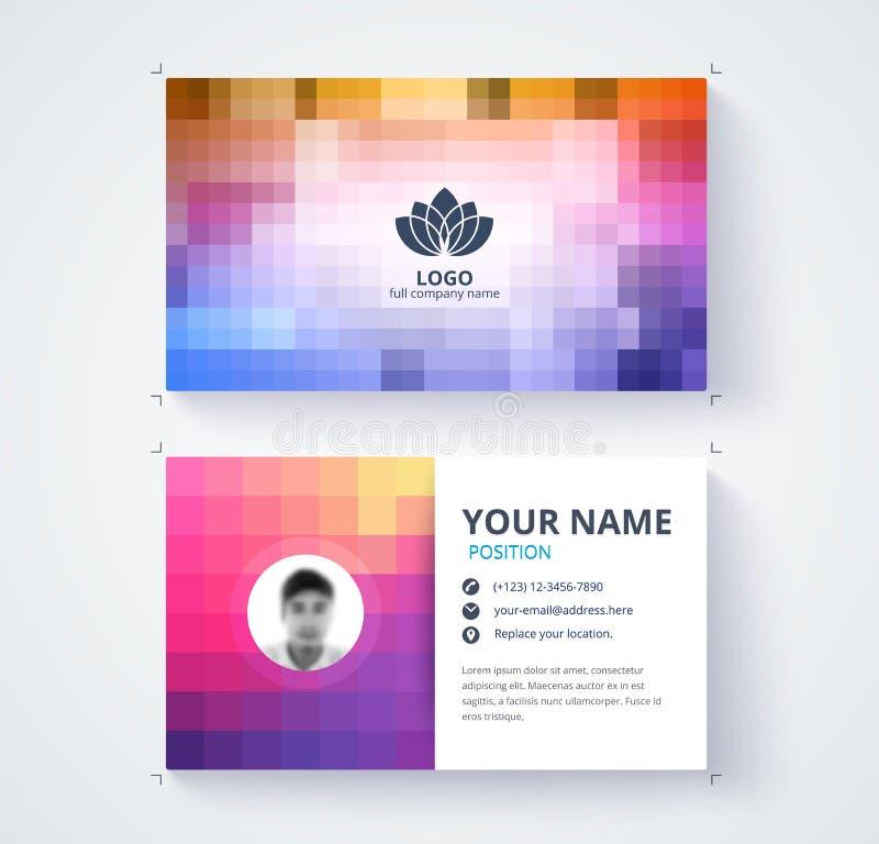 Het abstracte malplaatje van het pixeladreskaartje het ontwerp van de contactkaart royalty-vrije illustratie