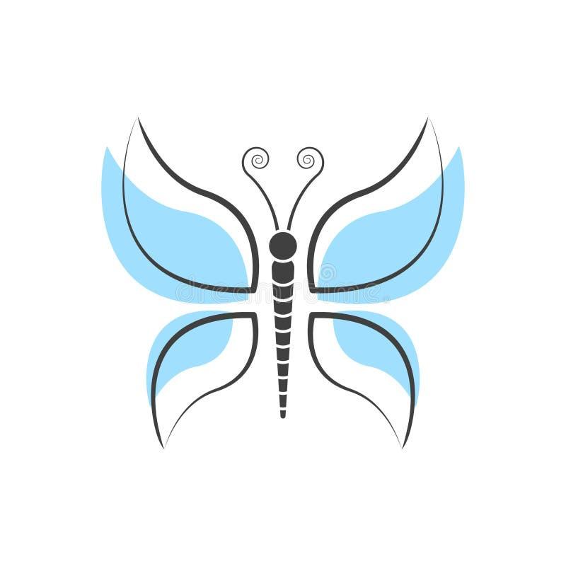Het abstracte malplaatje van het vlinderembleem eenvoudige Vectorembleemillustratie stock illustratie