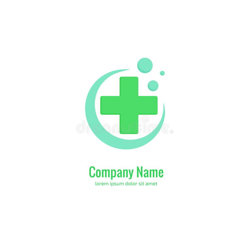 Het abstracte medische vectormalplaatje van het embleemontwerp Illustratieontwerp van symbool van de logotype het dwarsgezondheid royalty-vrije illustratie