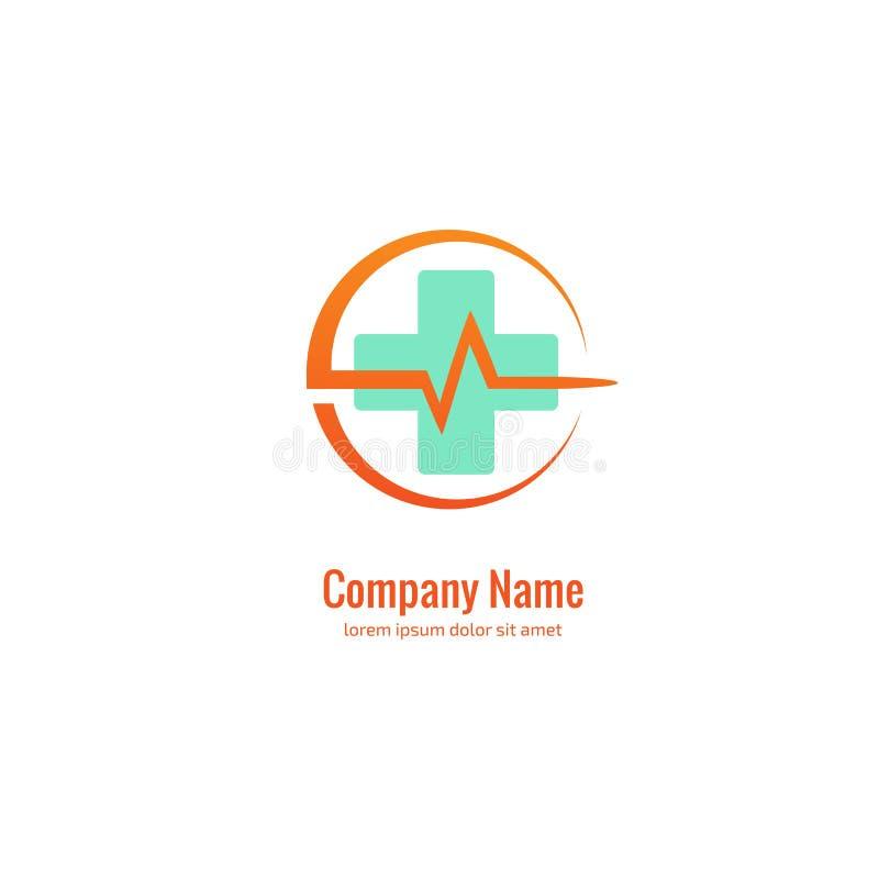 Het abstracte medische vectormalplaatje van het embleemontwerp Illustratieontwerp van symbool van de logotype het dwarsgezondheid stock illustratie
