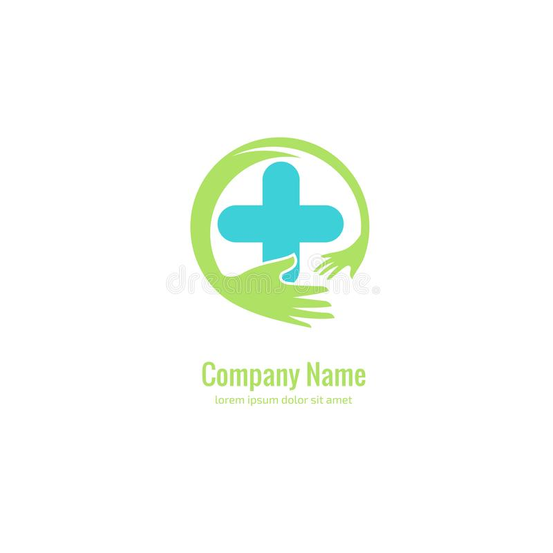 Het abstracte medische vectormalplaatje van het embleemontwerp Illustratieontwerp van symbool van de logotype het dwarsgezondheid vector illustratie