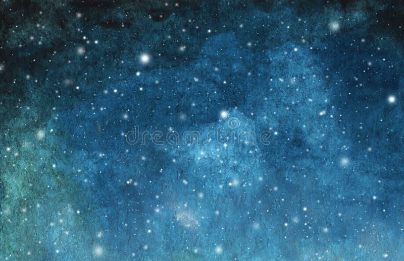 Het abstracte melkweg schilderen Waterverf Kosmische textuur met sterren De hemel van de nacht stock illustratie