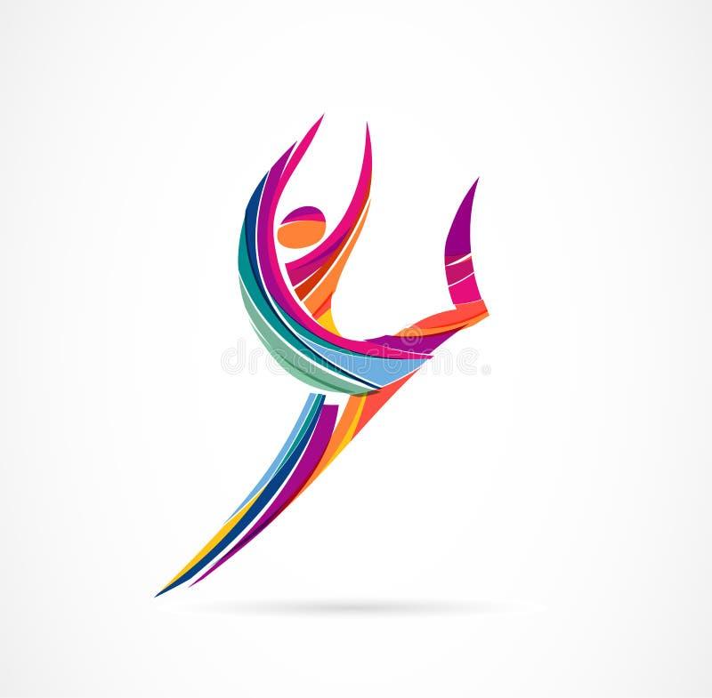 Het abstracte menselijke ontwerp van het cijferembleem Gymnastiek, geschiktheid, lopend trainer vector kleurrijk embleem Actieve  vector illustratie