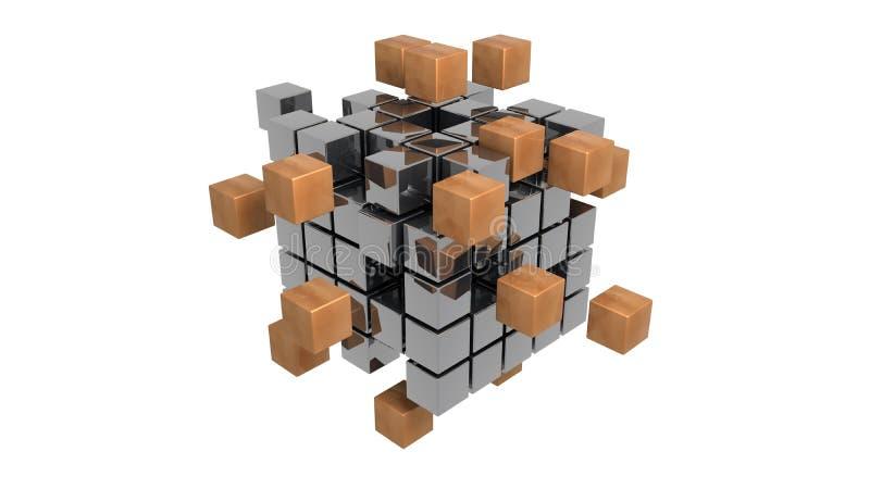Het abstracte metaal kubeert 3d illustratie stock illustratie