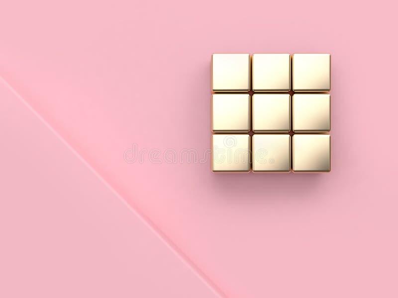 Het abstracte minimale roze van de de hoek metaal gouden bezinning van de achtergrond roze scènehoek 3d de kubusvierkant geeft te royalty-vrije illustratie