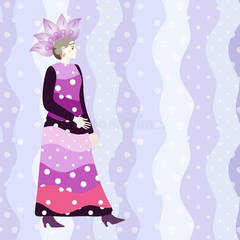 Het abstracte model van het schetsmeisje, kleding, bloemenhoed, de roze achtergrond van de stipgolf vector illustratie