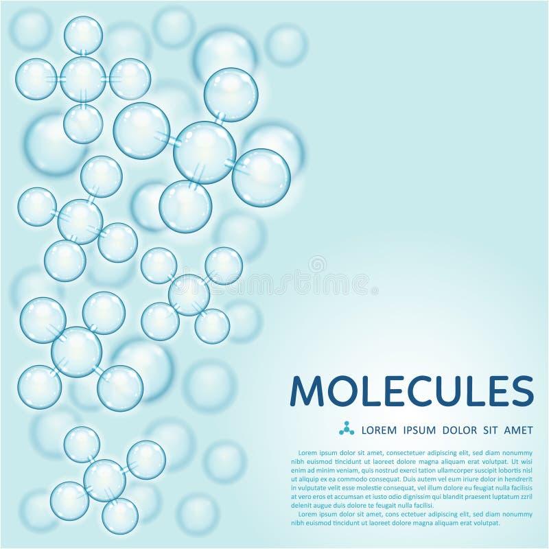 Het abstracte moleculesontwerp, polijst blauwe deeltjes stock illustratie
