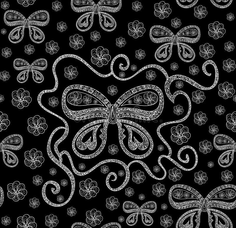 Het abstracte mooie vector naadloze patroon met vlinders met het krullen van vleugels, bloemen, stelde lijnen voor stock illustratie