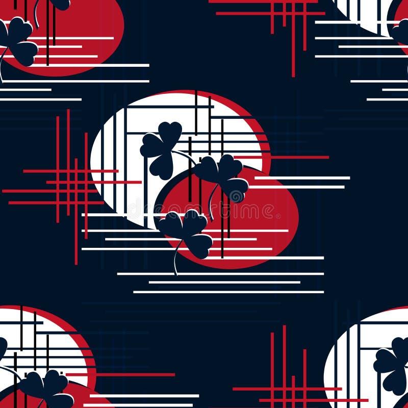 Het abstracte naadloze geometrische patroon van vormen clower bladeren stock illustratie