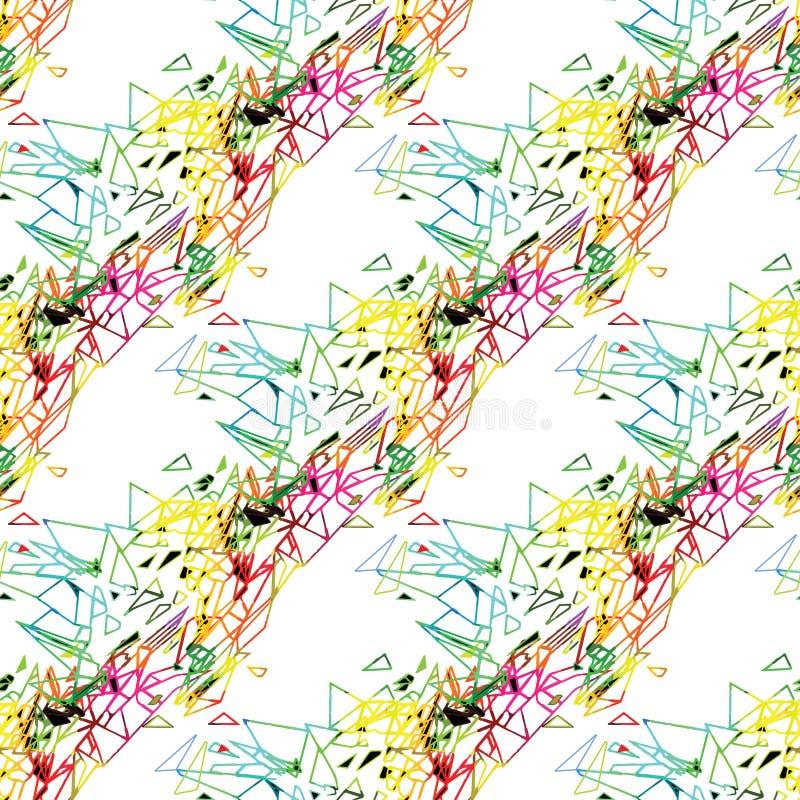Het abstracte naadloze grunge stedelijke patroon met pijl, lijnen, graffiti, geeft geweven elementen, inkt gestalte Heldere achte stock illustratie
