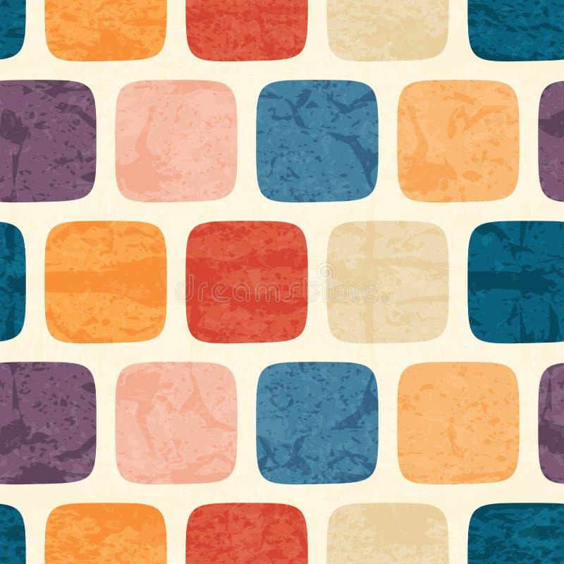 Het abstracte naadloze patroon met grunged kleurrijk vierkant stock illustratie
