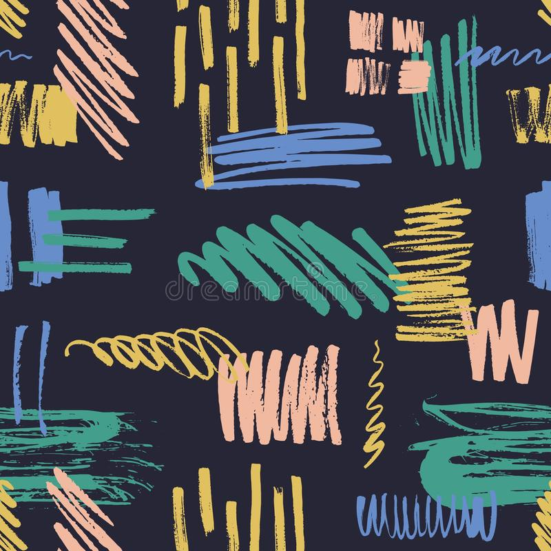 Het abstracte naadloze patroon met kleurrijk gekrabbel, bekladt, schildert sporen en kwaststreken op zwarte achtergrond creatief royalty-vrije illustratie