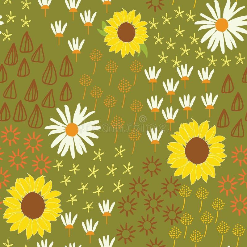 Het abstracte naadloze patroon van de zonnebloembloem met witte achtergrond vector illustratie