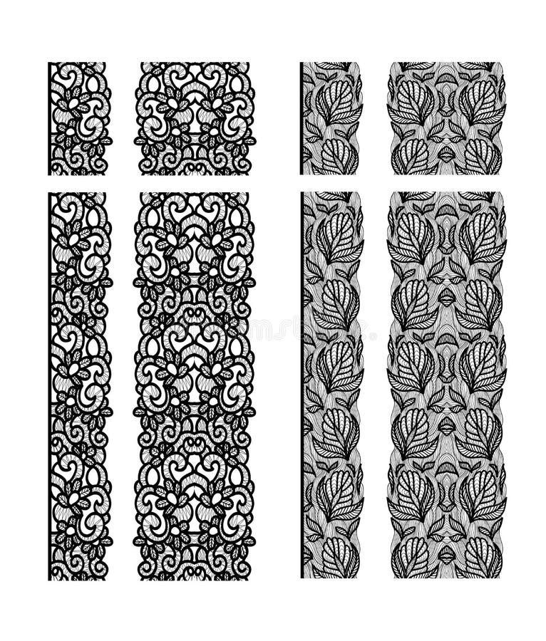 Het abstracte naadloze patroon van het kantlint Het ontwerp van de malplaatjelijn Doily van het kant vector illustratie