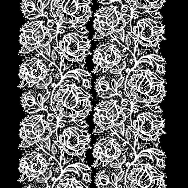 Het abstracte naadloze patroon van het kantlint met elementenbloemen vector illustratie