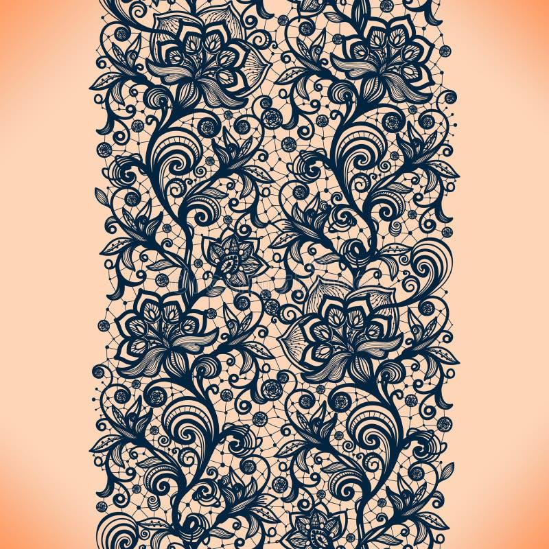 Het abstracte naadloze patroon van het kantlint met elementenbloemen royalty-vrije illustratie